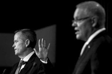 Bill Shorten during a debate with Scott Morrison.