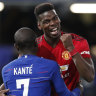 Comprehensive: Paul Pogba (right) again starred as Manchester United cast the defending champions aside.