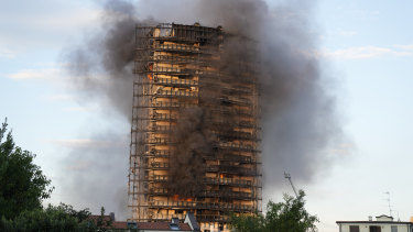 Unidentified residents said the panels on the facade were supposed to have been fire-resistant.