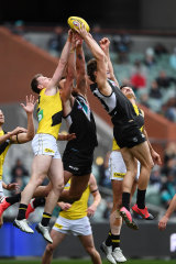 The Power's Mitch Georgiades goes for the mark in round 11.