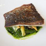 Flying Fish's Cone Bay Barramundi, zucchini, parsley sauce.