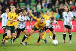 Gender inequality in sport is alarming:  the Matildas in the Cup of Nations playing against Argentina.
