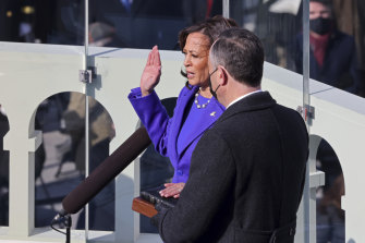 Kamala Harris is sworn as Vice-President.