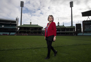 Meredith Burgmann at the Sydney Cricket Ground. Meredith invaded the pitch 50 years ago as part of a Springbok demonstration.
