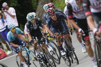 Australia's Richie Porte (centre) in the thick of the action during this year's Tour de France.