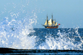 An Endeavour replica off the coast of Sydney.