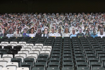 Moenchengladbach placed cardboard cut-outs of fans at a recent Bundesliga match.