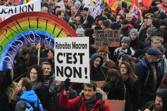 French unions during a protest in Paris on Friday ahead of the government's release of a bill redesigning the retirement system.