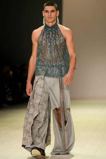 A model wearing creations by Gina Snodgrass in the Next Gen show at Mercedes Benz Fashion Week Australia.