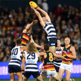 Above the pack: Mark O'Connor marks for the Cats.