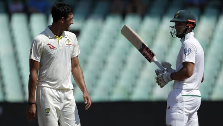 Australia's Mitchell Starc and South Africa's Theunis de Bruyn exchange a few words in the first Test.