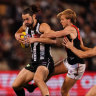 Magpies ruckman Brodie Grundy shined during Collingwood's win over Essendon at the MCG.