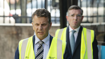 Transport Minister Andrew Constance with Treasurer Dominic Perrottet.