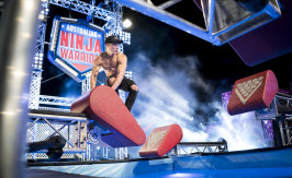 Ninja warrior Winson Lam on the first course of the 2019 competition.