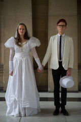 Comedians Zoe Coombs Marr and Rhys Nicholson in 2016 in a protest about the lack of marriage equality at the Melbourne International Comedy Festival.