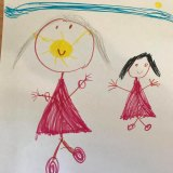 Maya, 6, drew herself going on a walk with her mum while wearing a mask.