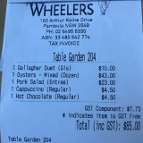 Receipt for lunch with Gabbie Stroud.