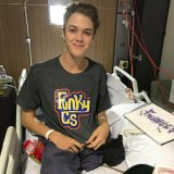 Ned Desbrow sporting a shirt from his clothing brand 'Funky G's' during his recovery.