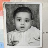 Journalist Latika Bourke, eight months old, in a photo taken for her adoption and travel papers.