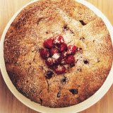 Milo Taylor-Westermann, 15, likes to cook.  This is an almond, peach and raspberry cake.