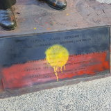 The Aboriginal flag was painted at the bottom of the statue.