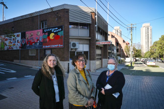 Nita Lyons, left, Aunty Norma Ingram and Narelle Lyons fear the loss of Redfern fire station.