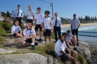 Balgowlah Boys' High deputy principal Benjamin Seldon (left) with principal Paul Sheather and several students.