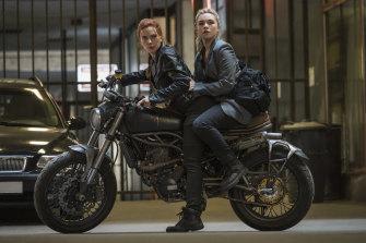 Scarlett Johansson as Black Widow/Natasha Romanoff (left) and Florence Pugh as Yelena in Black Widow.