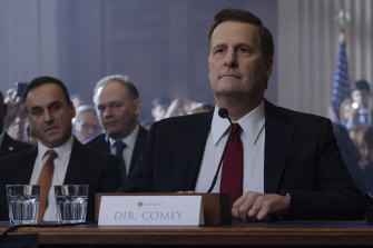 Jeff Daniels plays FBI director James Comey in the The Comey Rule. Hillary Clinton doesn't appear in the Stan drama, but she haunts every scene.
