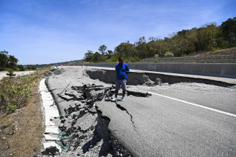 A severely damaged section of the Suai-Fatucai expressway built by Covec-CRFG (joint venture between China Overseas Engineering Group Co. and China Railway First Group Co.)
