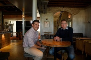 Charlie Laundy (left) with his father Craig Laundy in the Woolwich Pier Hotel. They are keen to reopen in October.