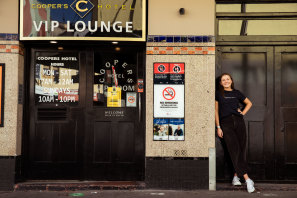 University of Sydney student Roisin Browne, 20, is eager to get back to work at the Coopers Hotel in Newtown.