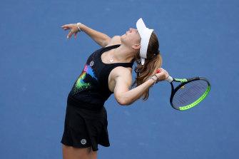 Australian player Ellen Perez in doubles action at the US Open.