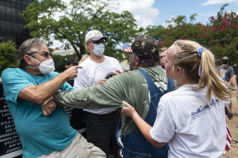 Left and right wing protesters clash in Portland in July.
