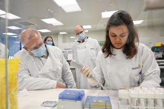 Prime Minister Scott Morrison at the AstraZeneca laboratories.
