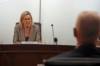 FIFO sexual assaults and harassment inquiry chairwoman Libby Mettam questions officials from the Department of Mines, Industry Regulation and Safety.