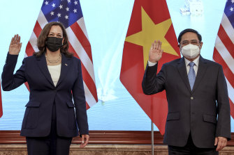 US Vice-President Kamala Harris meets Vietnam's Prime Minister Pham Minh Chinh during a meeting in Hanoi on Wednesday.