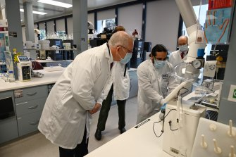 Prime Minister Scott Morrison toured the AstraZeneca laboratories in Macquarie Park.