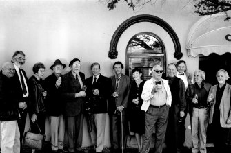 A 1994 lineup of arty types at Lucio's. From left: Col Jordan, Ken Reinhard, Anne von Bertouche, John Coburn, Stan Rapotec, Kym Bonython, Louis James, Pat James, Ross Luck, Charles Reddington, Mike Kicching, Frank Hodgkinson, Lou Klepac.