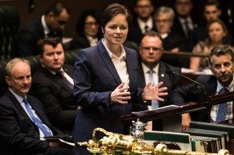 Mulgoa MP Tanya Davies speaking during debate to decriminalise abortion in NSW.