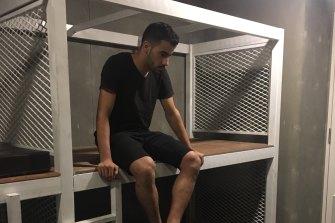 Hakeem al-Araibi in detention at Bangkok airport.