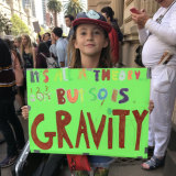 Mimi Vale, 10, spent hours making her placard for Friday's rally.