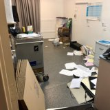 An office at the retirement village was left in a mess following the dispute.