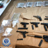 Assault rifle, pistols found with $2 million in drugs in organised crime raids