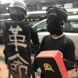 These 15-year-old protesters were dressed to defend themselves during student demonstrations on Monday.