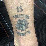 Shane Mumford's Bunyip Bulldogs premiership tattoo.