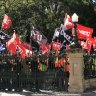 CFMEU marches on Parliament, calls for Jackie Trad to resign