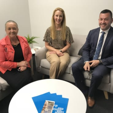 Brindabella Labor MLA Joy Burch, Lifeline Canberra CEO Carrie Leeson andVikings Group CEO Anthony Hill in the support room at the Erindale Vikings.