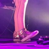 Gold sandshoes worn by Ball Park Music's Jennifer Boyce.