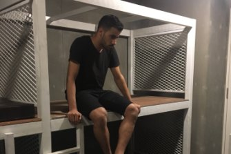 Hakeem al-Araibi in detention at Bangkok airport.